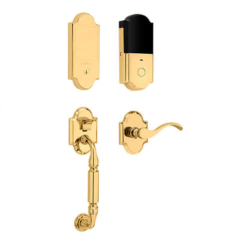 Baldwin - Lifetime Polished Brass Canterbury Touchscreen Dummy Handleset