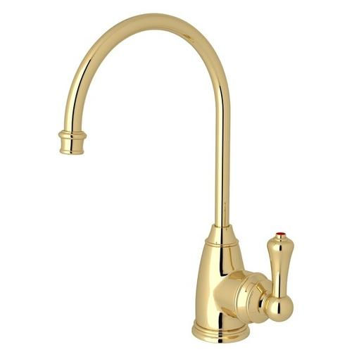Unlacquered Brass Perrin & Rowe Georgian Era C-Spout Hot Water Faucet with Traditional Metal Lever