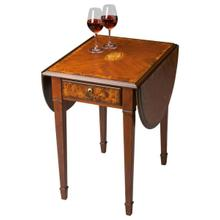Thanks to its drop-leaf design, this antique reproduction pembroke table is wonderfully versatile and suitable for both small spaces and larger rooms. Handcrafted from select wood solids and wood products, the top features a maple and walnut veneer linen-