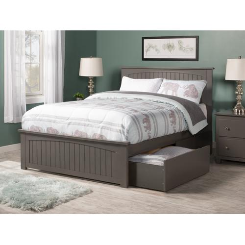 Nantucket Full Bed with Matching Foot Board with 2 Urban Bed Drawers in Atlantic Grey