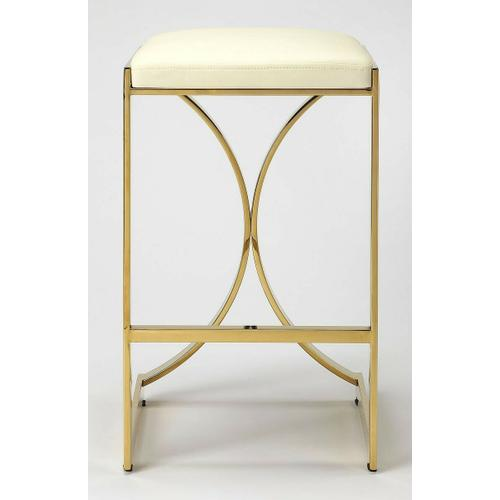 Butler Specialty Company - Furnish your kitchen or bar area in contemporary style with this backless counter stool. The high polish solid iron frame provides a sturdy base, while the plush faux leather seat and footrest ensure maximum comfort. The combination of angles and gentle curves gives this stool an eye-catching appearance, while the neutral color allows it to match well with any decor.