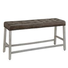 See Details - Upholstered Counter Bench - Antique White Finish