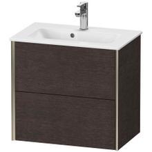 View Product - Vanity Unit Wall-mounted Compact, Brushed Dark Oak (real Wood Veneer)