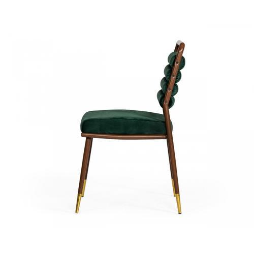 VIG Furniture - Modrest Biscay - Modern Dark Green & Walnut Steel Dining Chair