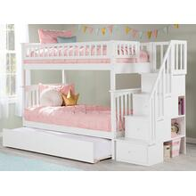 View Product - Columbia Staircase Bunk Bed Twin over Twin with Urban Trundle Bed in White