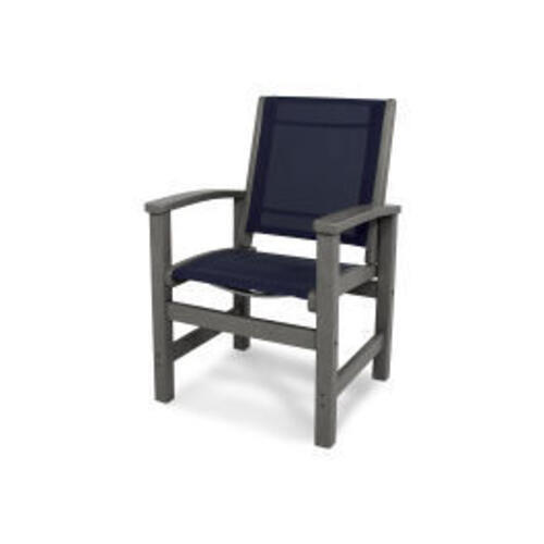Coastal Dining Chair in Slate Grey / Navy Blue Sling