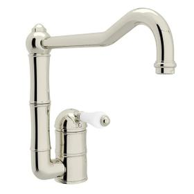 Acqui Single Hole Column Spout Kitchen Faucet with Extended Spout - Polished Nickel with White Porcelain Lever Handle