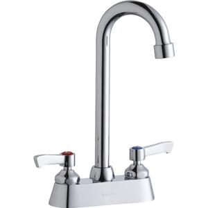 "Elkay 4"" Centerset with Exposed Deck Faucet with 5"" Gooseneck Spout 2"" Lever Handles Chrome Product Image"