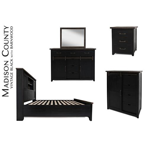 Madison County 5 PC King Barn Door Bedroom: Bed, Dresser, Mirror, Nightstand, Chest - Vintage Black