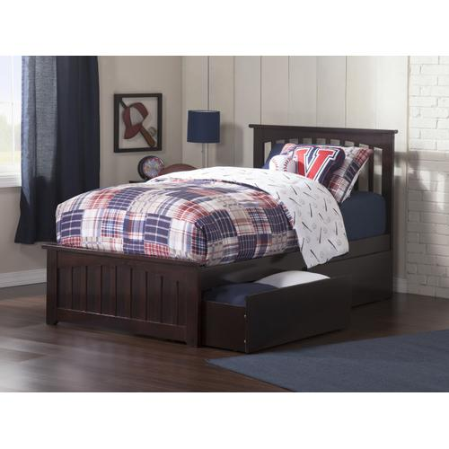 Mission Twin Bed with Matching Foot Board with 2 Urban Bed Drawers in Espresso