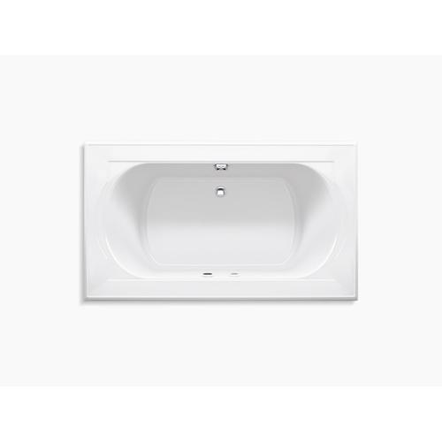 "White 72"" X 42"" Heated Bubblemassage Air Bath With Bask and Center Rear Drain"