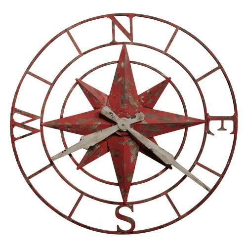 Howard Miller Compass Rose Metal Oversized Wall Clock 625633