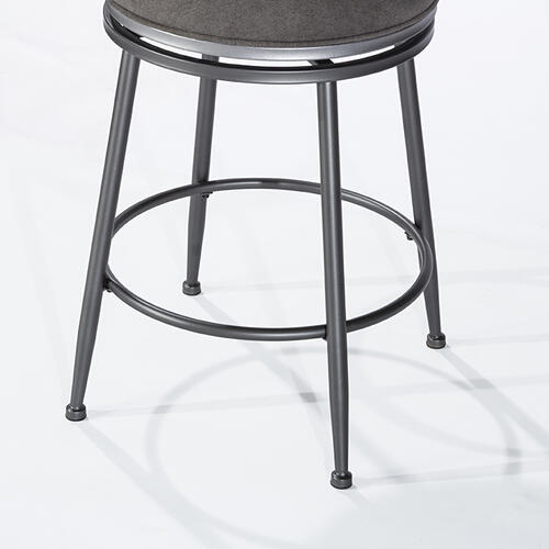 Melange Wood Back Counter Height Stool - Dark Gray Wirebrush Wood / Charcoal Metal