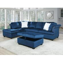 See Details - Leanne Reversible Sectional with Storage Ottoman, Blue Velvet