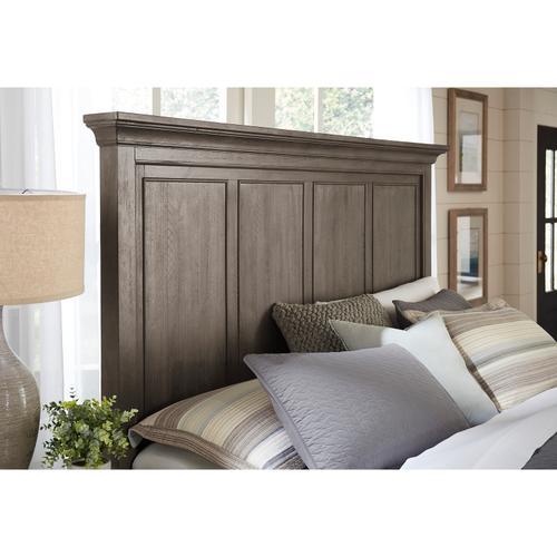 Chatham Park Queen Panel Bed Storage Headboard in Warm gray