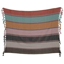 """Product Image - 60""""L x 50""""W Recycled Cotton Blend Striped Throw w/ Braided Fringe, Multi Color"""