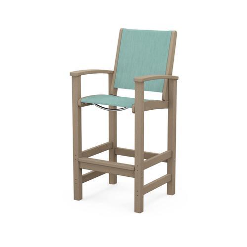 Polywood Furnishings - Coastal Bar Chair in Vintage Sahara / Aquamarine Sling