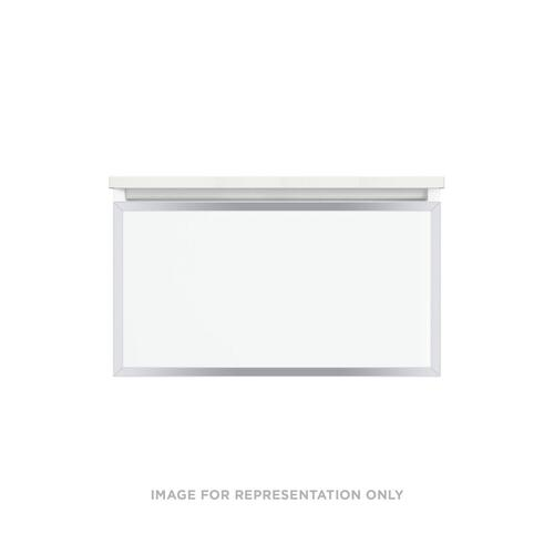 """Profiles 30-1/8"""" X 15"""" X 21-3/4"""" Modular Vanity In Satin White With Chrome Finish and Slow-close Full Drawer"""