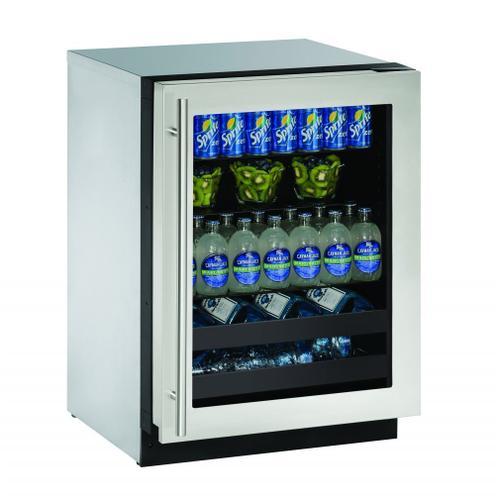 """2224bev 24"""" Beverage Center With Stainless Frame Finish and Left-hand Hinge Door Swing (115 V/60 Hz Volts /60 Hz Hz)"""