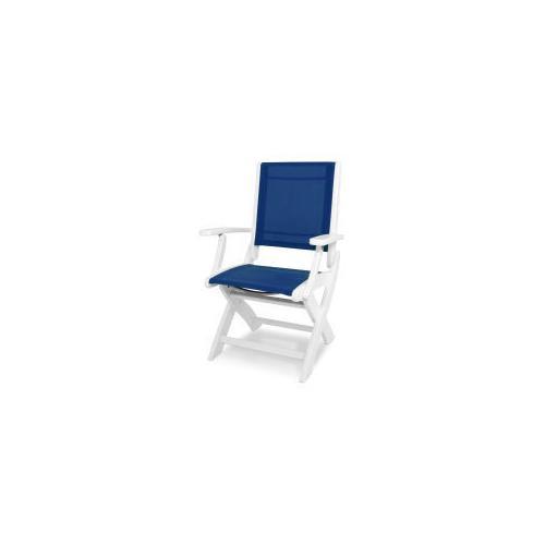 Polywood Furnishings - Coastal Folding Chair in White / Royal Blue Sling