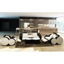Product Image - Divani Casa 3089 Modern White and Black Bonded Leather Sofa Set and Ottoman