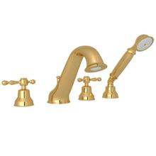 See Details - Arcana 4-Hole Deck Mount Tub Filler and Handshower - Italian Brass with Ornate Metal Lever Handle