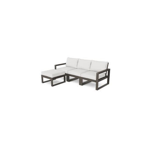 Polywood Furnishings - EDGE 4-Piece Modular Deep Seating Set with Ottoman in Vintage Coffee / Natural Linen