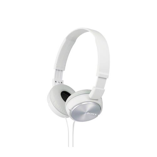 Sony - Wired On-ear Folding Headphones with Microphone - White
