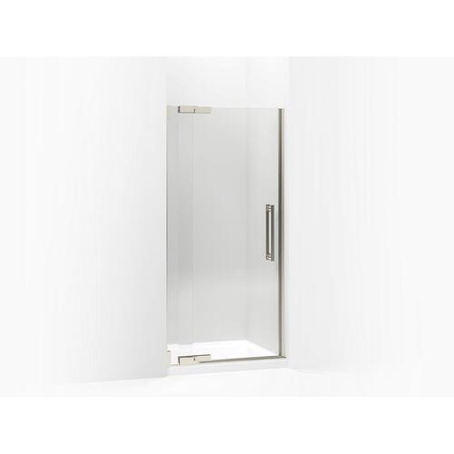 "Crystal Clear Glass With Brushed Nickel Frame Pivot Shower Door, 72-1/4"" H X 30-1/4 - 32-3/4"" W, With 3/8"" Thick Crystal Clear Glass"