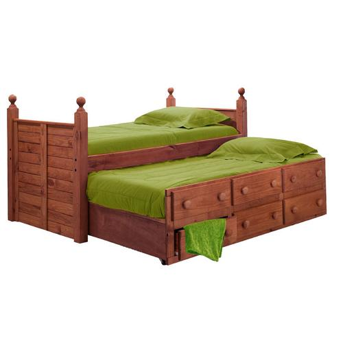 Full Panel Post Captain Bed w/Twin Trundle Unit