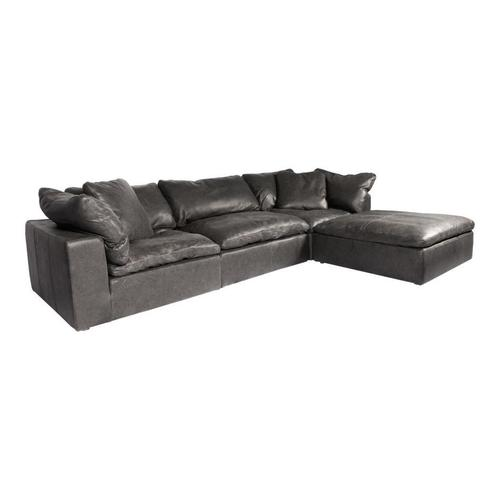 Moe's Home Collection - Clay Lounge Modular Sectional Nubuck Leather Black