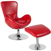 See Details - Red Leather Side Reception Chair with Ottoman