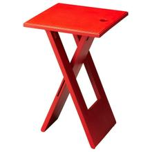Whimsical, versatile and fun! This folding table is designed to snuggle into a small spot for a brief visit or a long stay. Folds easily for compact storage. Crafted from Mango wood solids. Finished in a vibrant Red.