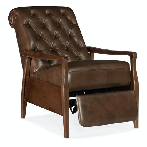 Living Room Remington Pushback Recliner with Exposed Wood Arm