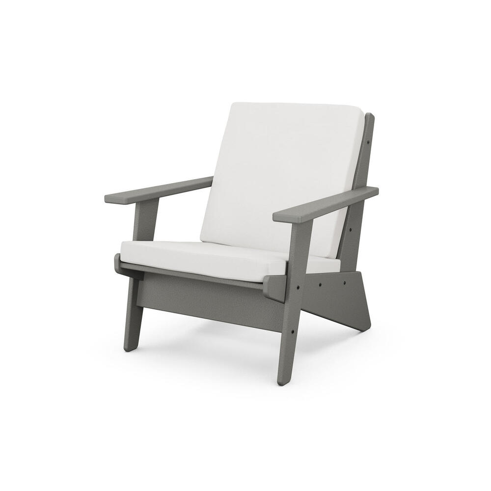 Slate Grey & Textured Linen Riviera Modern Lounge Chair