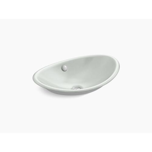 Sea Salt Vessel Bathroom Sink With White Painted Underside