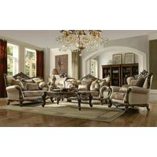 ACME Latisha Sofa w/6 Pillows - 52115 - Tan - Pattern Fabric & Antique Oak