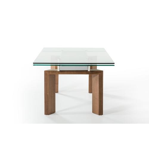 VIG Furniture - Modrest Bijou Contemporary Extendable Walnut & Glass Dining Table
