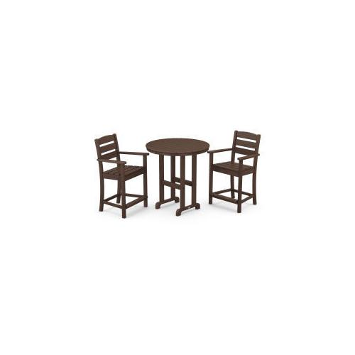 Polywood Furnishings - Lakeside 3-Piece Round Counter Arm Chair Set in Mahogany