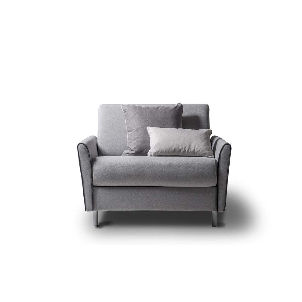 The Habitat Twin Size Sofa Bed In Light Gray Linen With Gray Feet
