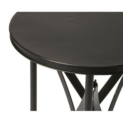 Butler Specialty Company - Crafted from iron and perched on rolling casters; this aged industrial-look accent table evokes the charm of a by-gone era. It features a distinctive interlaced base linking legs and tabletop.
