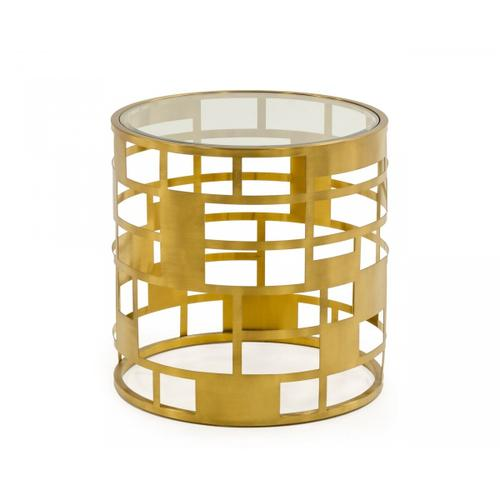 VIG Furniture - Modrest Kudo - Glam Clear Glass and Gold Glass End Table