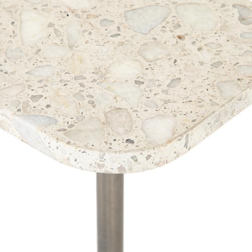 Polished White Finish Ronan Accent Table