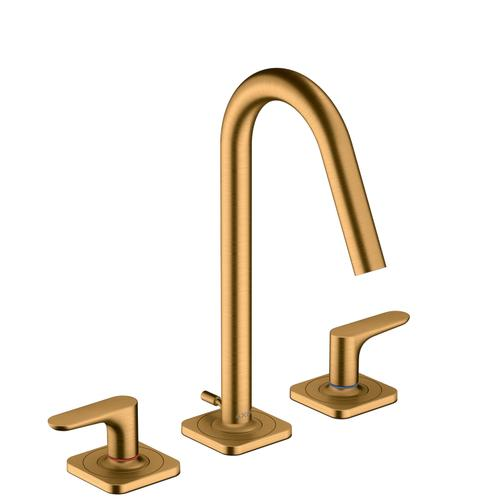 Brushed Gold Optic 3-hole basin mixer 160 with lever handles, escutcheons and pop-up waste set