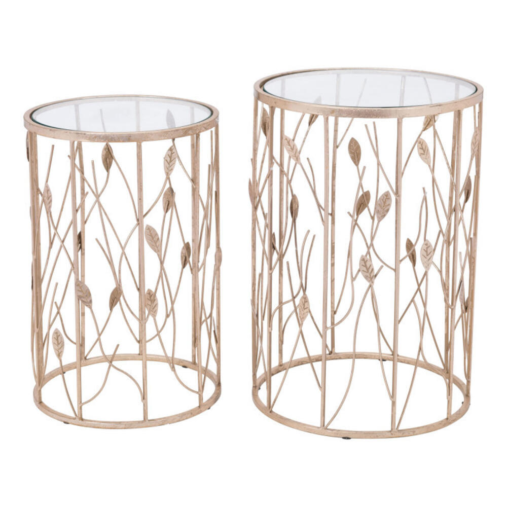 Set Of 2 Sage Side Tables Clear & Gold