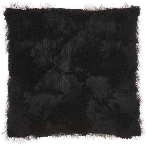 """Faux Fur L0296 Black 18"""" X 18"""" Throw Pillow"""