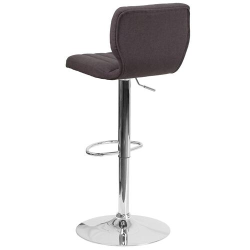 Contemporary Charcoal Fabric Adjustable Height Barstool with Chrome Base