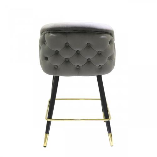 Gallery - Modrest Elliot - Contemporary Grey & Black/Gold Dining Bar Stool (Set of 2)