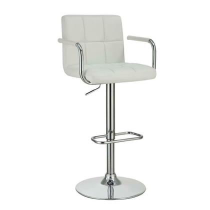 See Details - Contemporary White and Chrome Adjustable Bar Stool With Arms