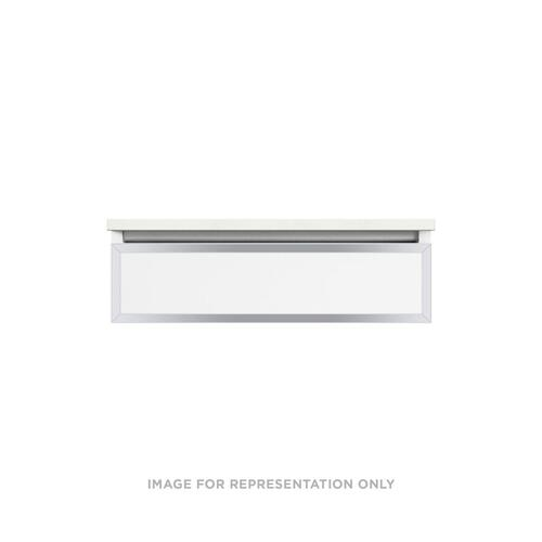 "Profiles 30-1/8"" X 7-1/2"" X 21-3/4"" Modular Vanity In Matte White With Chrome Finish and Slow-close Plumbing Drawer"